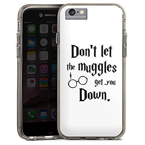 Apple iPhone 8 Bumper Hülle Bumper Case Glitzer Hülle Muggles Statement Harry Potter Bumper Case transparent grau