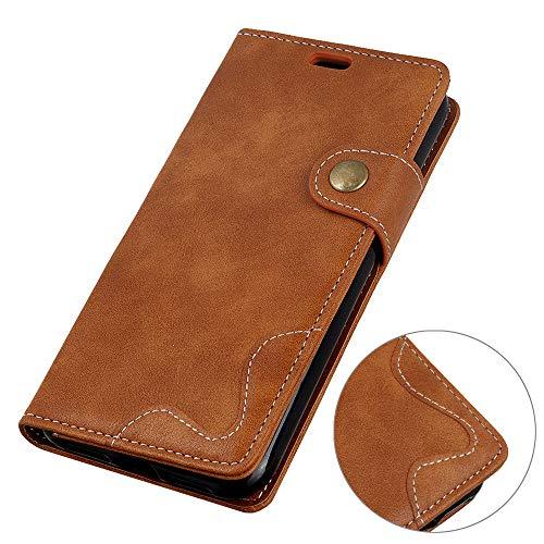 Custodia per Nokia 3.1 Plus,Funzione staffa,coperchio per fondina portafoglio,materiale morbido,comodo da usare,design a forma di S(Marrone)