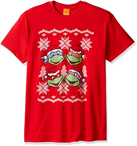 Turtles Herren T-Shirt TMNT Tree Ugly Christmas T-Shirt, Rot, Größe S ()