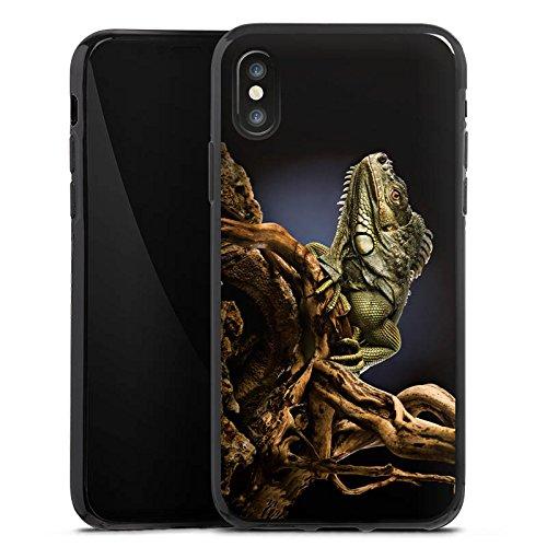 Apple iPhone X Silikon Hülle Case Schutzhülle Echse Reptil Tier Silikon Case schwarz