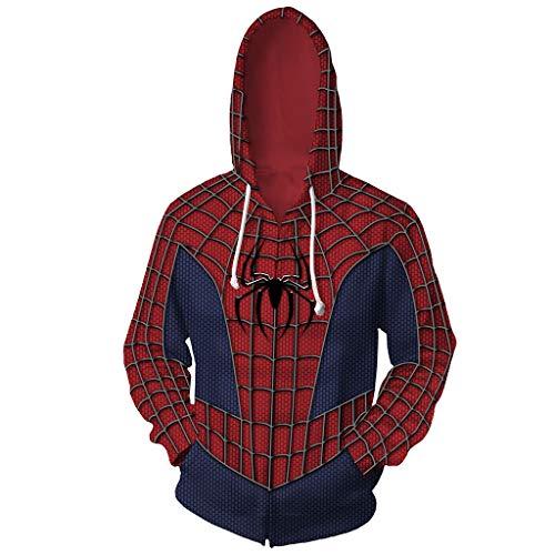 Herren Hoodies Herren Sweatshirts Cosplay Kostüm Spiderman Halloween Hoodie Super Hero Quantenreich Jacke Cosplay Kostüm Langarm Pullover,CosplayCostume,4XL (Kostüme Halloween-super Hero)