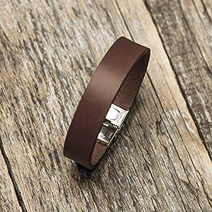 Braunes Armband aus italienischem Leder, pflanzlich gefärbt, mittlere Größe: Handgelenke mit 16.5-18 cm Umfang