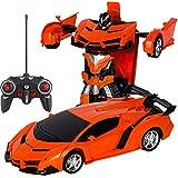 Transform Voiture Robot pour Enfant Télécommande RC Véhicules avec un seul bouton Transformer, LED Lumières 18.5 x 17 x 15cm/7.28' x 6.69' x 5.91' Orange