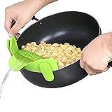 Silikon-Schnappsieb, FineGood Freisprech-Clip-on Hitzebeständig Sieb Auslauf für Pasta Gemüse Nudeln Topf Schüssel Pan