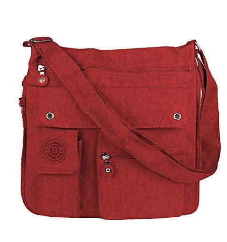 Bag Street Unisex Tasche Nylon Schultertasche Umhängetasche Crossbody Bag 2221 (Dunkelrot)