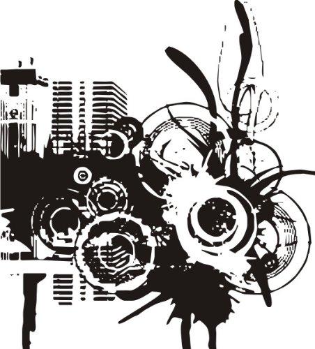 T-Shirt E461 Schönes T-Shirt mit farbigem Brustaufdruck - Logo / Grafik - abstraktes Design - Skyline mit Ornament aus Kreisen Weiß