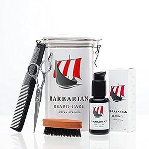 Hochwertiges Mr Burton´s Barbarian Bartpflege Set – inkl. Bartöl, Bartbürste, Schere, Kamm und Aufbewahrungsdose