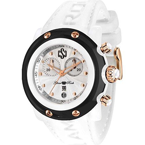 Glam Rock Unisex Miami Beach 46mm White Silicone Band Polycarbonate Case Quartz Analog Watch GR2511