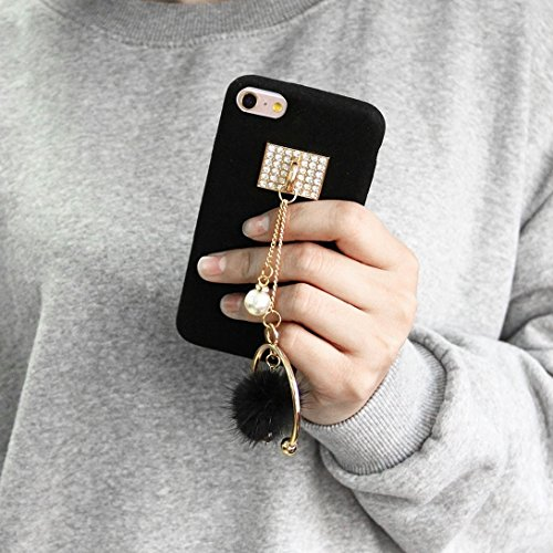 Phone case & Hülle Für iPhone 6 Plus / 6s Plus, Diamond Pearl Half-Ring Tassel Anhänger Plüsch Stoff PU Leder Schutzhülle ( Color : Red ) Black