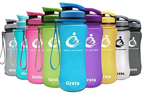 Grsta Sport Trinkflasche Wasserflasche 20oz/1L - Auslaufsicher, Eco Friendly BPA-frei Tritan Kunststoff, Frucht Filter Beste Sportflasche Fitness Plastik Flasche für Kinder, Yoga, Turnhalle, Laufen,Camping, im Freien, Büro Öffnet mit 1-Klick