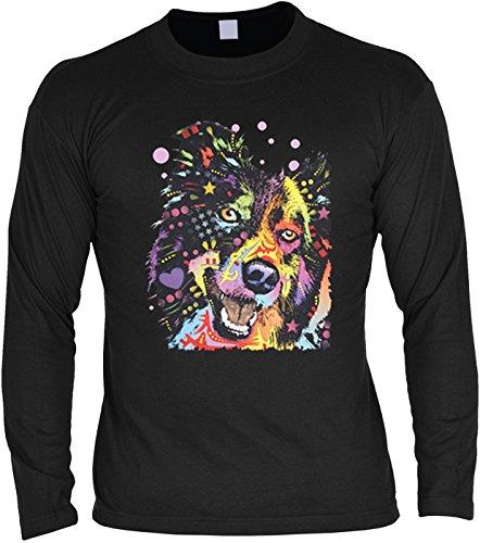 Langarm T-Shirt für Männer Langarmshirt Herren Border Collie cooles Hunde Motiv Dog Hunde Hund langes T-Shirt Schwarz
