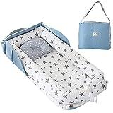 TEALP Baby Nest Riduttore Per Letto Culla Paracolpi Multifunzionale Nido lettino da viaggio, stella grigia
