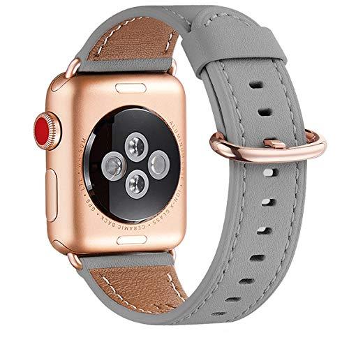 WFEAGL Kompatibel für Watch Armband, Top Grain Lederband Ersatzband mit Edelstahl-Verschluss Kompatibel für Watch Serie 4/3/2/1, Sport, Edition (38mm 40mm, Grau+Rosé Gold Adapter)