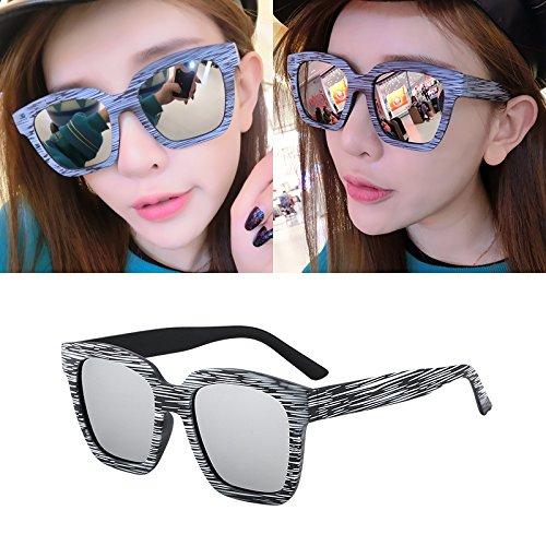 Sunyan Sonnenbrille, weibliche Tide, rot-runden Gesicht, Koreanisch elegante Gläser, neue Runde Persönlichkeit Sonnenbrille 15945, Holz weiß Quecksilber gerahmt -