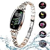 zchg H8 Pulsera Inteligente para Mujeres Monitor de Ritmo Cardíaco Reloj Inteligente Banda Presión Arterial Reloj Inteligente Rastreador de Fitness (Dorado)