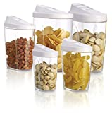 [Black Friday deals 2015]3s Supply 5pcs food storage organization plastic kitchen storage box nuts tea sugar candy container jar with spout jars set organizer - Transparent