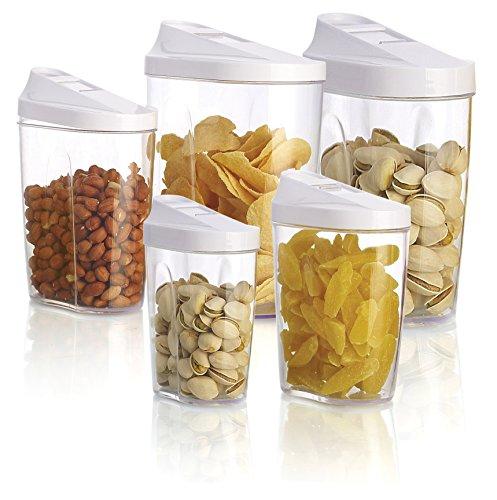 [Black Friday deals 2015]3s Supply 5pcs food storage organization plastic kitchen storage box nuts tea sugar candy container jar with spout jars set organizer - Transparent by 3S Supply