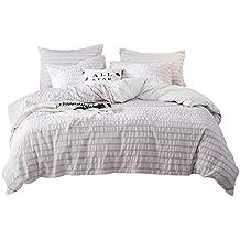 Umi. by Amazon - Bettbezugsset mit einem Kissenbezug aus reiner, garngefärbter Seersucker-Baumwolle (200x220+2x80x80cm,Weiß - Rosa)