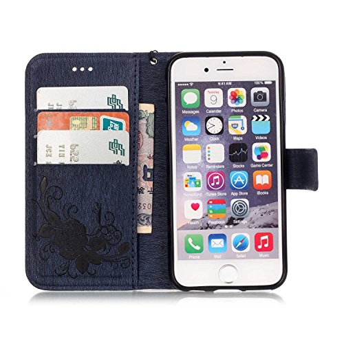 Coque Etui pour Apple iPhone 6 Plus/ 6S Plus, iPhone 6 Plus Coque Papillon Rose gaufré motif en relief Portefeuille Bling Diamant, iPhone 6S Plus Coque en Cuir Folio Etui Housse Leather Bookstyle Case Diamant Papillon Rose-Bleu Marine