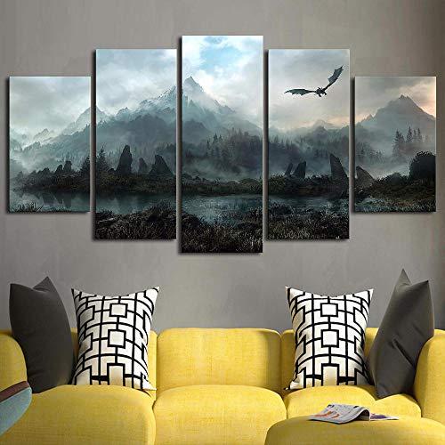 Leinwand Wandkunst Bild Dekoration 5 Stücke Von Power Game Dragon Sky Wohnzimmer Malerei Modul Karte Poster ()