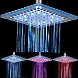 Mode LED Douche contrôle de température 3-color Change (Bleu, Rose, Rouge) de salle de bain fixe Top Spray en acier inoxydable + en verre