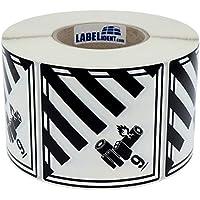 Gefahrgutaufkleber - Klasse 9A - Lithium-Batterien (9) - 100 x 100 mm - 500 Gefahrgutetiketten, Polyethylen, weiß/schwarz, permanent haftend