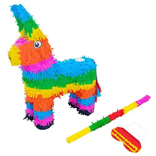 Fax Kartoffel Esel Pinata Set mit Stick & Blindfold - 40 x 13 x 55cm - Rainbow