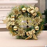 Flor de navidad anillo de ratán adorno puerta decoración - Oro