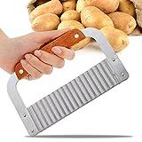 A-szcxtop Kartoffel Chip Teig Gemüse Crinkle gewellt Cutter Messer mit Edelstahl Blade & Holzgriff für Schneiden Kartoffel Karotte Kerze