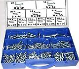 260 Stck Sechskantschrauben DIN 933, GKL. 8.8, verzinkt, Schrauben im Koffer, 5,0x20-8x50