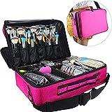 Travelmall Cosmético Organizador-Profesional Maquillaje Case-Travel Maquillaje Herramientas Contenedor (Rosa roja-(42x31x14)cm)