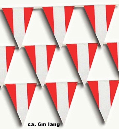 Dekoration Dekoartikel Wimpelgirlande rot weiß spitzen Österreich EM WM (Olympischen Spiele Themen Kostüm Party)