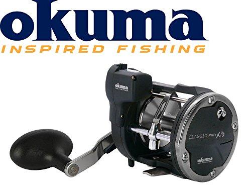 Okuma Classic Linecounter XPD- 20DA Rechtshand Multirolle, Schnurfassung 270m 0,35mm, Meeresrolle, Angelrolle für Norwegen, Island, gelbes Riff