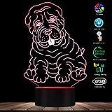 ENLAZY Shar Pei Dog Breed 3D Illusion Touch Lamp Bambini Camera da Letto Luce Notturna 7 Colori Touch Table Desk Lamp Regali di Compleanno di Compleanno Ideali per Bambini Ragazzi Ragazze