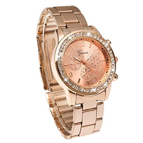 Genf Bling Crystal Frauen Mädchen Unisex Edelstahl Quarz-Armbanduhr (Rose Gold Luxus-uhr Genf)