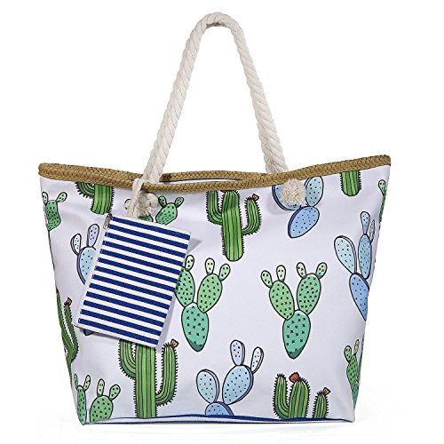 Diealles borsa da spiaggia in tela, borsa da spiaggia grande con cerniera per donna e ragazza - style 3