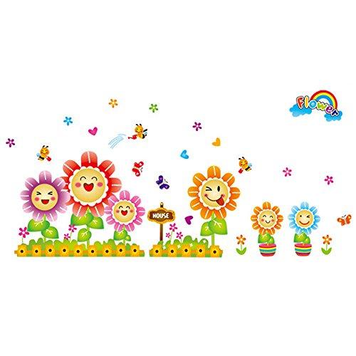 Girasole adesivi murali per bambini Camera da letto Soggiorno Divano TV Nursery Sfondo Adesivi rimovibili Decor Stickers