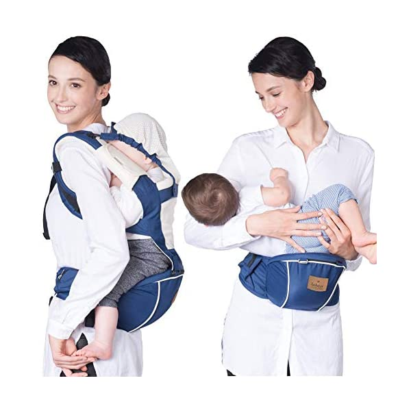 Bebamour Hipseat Baby Carrier Backpack 5 in 1 Carry Ways Carrier Sling (Light Green) bebear ▲VIDEO --- Know more details by YOUTUBE by searching 'Bebamour Baby Carrier Hipseat'. Gift-Box Packaged. Bebamour offer 90 days money back Guarantee! Quality problems with our baby carrier occur within this period will be offered a replacement. ✔ PROMISED QUALITY AND FABRIC - The baby carrier is made with 100% polyester with breathable cotton make baby feel comfortable and cozy. (If you have any questions in using baby carrier, pls don't hesitate to contact us. ✔ ERGONOMIC DESIGNED - Although it is a baby carrier hipseat, it also is designed according to baby's growth. Suit for baby who is 3-36 months and whose capacity is between 0-33lbs (14.9KG). 5