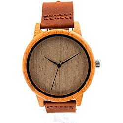 LinTimes Men's Bamboo Wooden Wristwatches With Genuine Cowhide Leather Band Luxury Wood White Watches