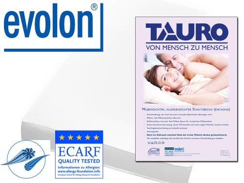 TAURO 25342 Matratzenbezug rundum 100 x 200 cm, Encasing Milbenkotdicht Höhe 24 cm Waschbeständiger Milbenschutz für Hausstauballergiker, kompakte ...