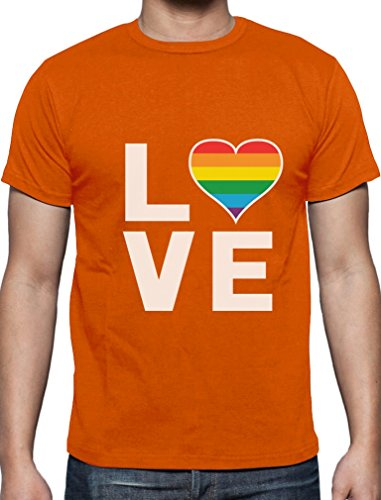 Love - Regenbogen Herz Liebe Schwul Lesbisch T-Shirt Orange