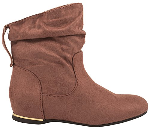 Elara Damen Schlupfstiefel | Bequeme Klassiche Stiefeletten | Flache Boots C-7111-Pink-37