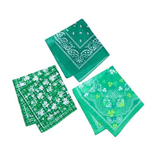Amosfun Schal St. Patrick's Day Kleeblatt Shamrock Schals Irish Party Kostüm Zubehör 3 Stück (Grün) (Irische Schals Wraps Und)