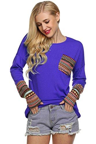 ZEARO Damen Sweater Pullover Beiläufige OAnsatz Langarm Patchwork Bluse  Tops Sweatshirt Lila