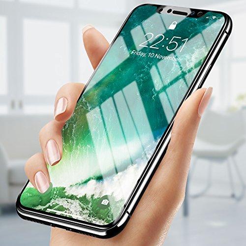 iPhone X Panzerglas, innislink Schutzfolie iPhone X Folie 3D Full Cover Glas 9H Härte Dünn Kratzschutz Anti-Öl Bläschen Fingerabdruck Stoßfest HD Transparent Displayschutzfolie für iPhone X- 2 Stück