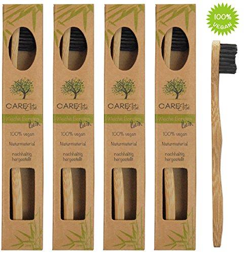 4er-Pack Bambus-Zahnbürste (klein) ♻ Kleine Holzzahnbürste für Kinder und Erwachsene aus Bambus-Holz ♻ Plastikfrei verpackte Holzzahnbürste mit kleinem Bürstenkopf ♻ Kinderzahnbürste mit kleinem Kopf (Nylon Erwachsenen-zahnbürste)