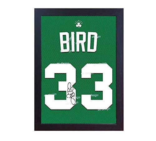 Larry Bird Boston Celtic NBA SIGNED Autograph Canvas 100% Baumwolle T-Shirt gerahmt (T-shirt Canvas-baumwolle)
