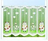 Kamaca Bistrogardine Kindergardine Bauernhof - Freunde individuell in der Breite kürzbar Halbtransparent Breite 145 cm/Höhe 50 cm Scheibengardine (Kuh + Biene)
