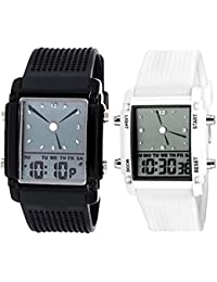 Pappi Boss - Pack Of 2 - Digital Black & White Dial Multifunction Men's And Boy's Watch-High Defination Watch