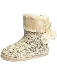 Pantuflas Para Mujer Zapatillas de estar por casa de mujer con bordes del tejido de punto y pompons Airee Fairee